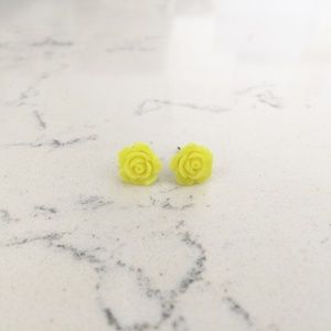 Sunny Yellow Rose Stud Earrings